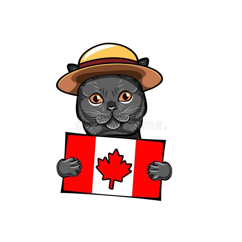 Katt kanadensisk flagga Kort för Kanada daghälsning kanadensare monterad poliskunglig person Lycklig Kanada dagtext vektor vektor illustrationer