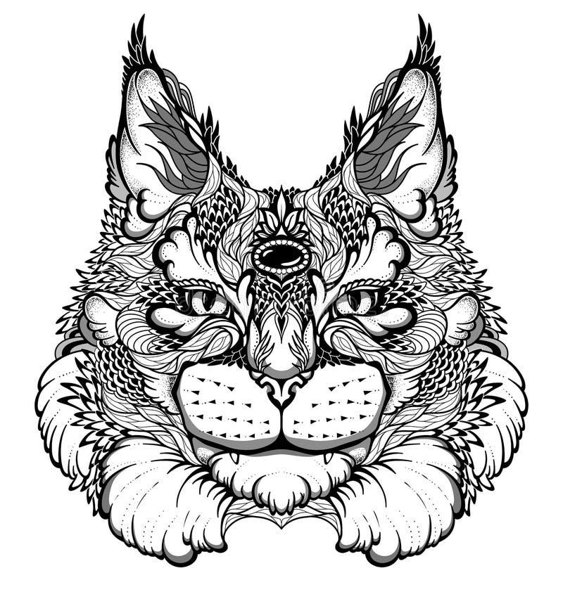 Katt-/lodjurhuvudtatuering psykedelisk/zentanglestil stock illustrationer