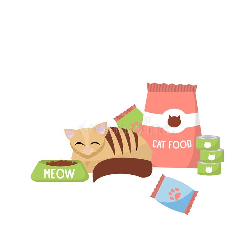 Katt med begrepp för kattfoods Katten bredvid packande kattmat och på burk Plan vektortecknad filmillustration av en kattunge omk royaltyfri illustrationer