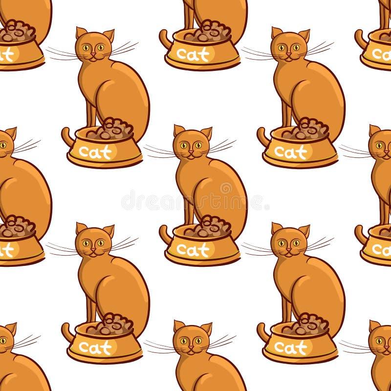 Katt med bunken på ändlös modell för bakgrundsvektorillustration stock illustrationer