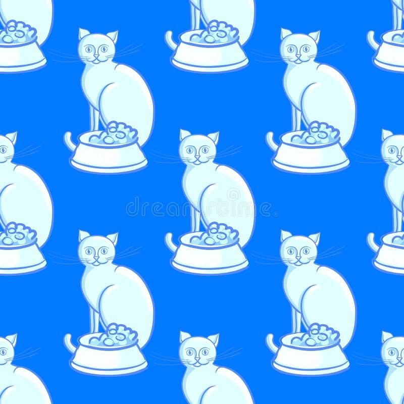 Katt med bunken på ändlös modell för blå bakgrundsvektorillustration royaltyfri illustrationer