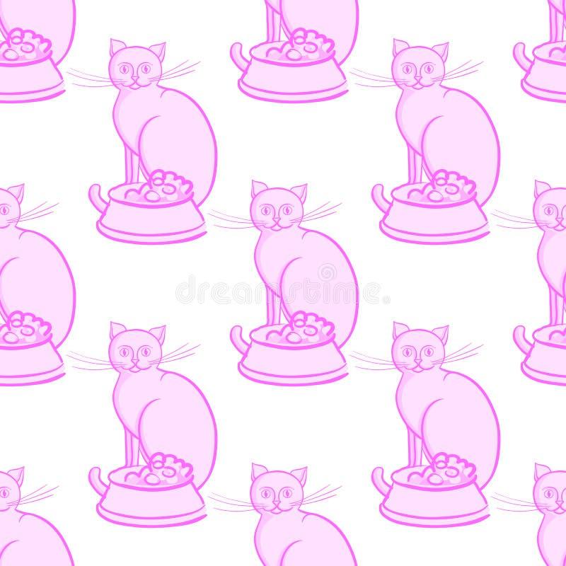 Katt med bunken på ändlös modell för vit bakgrundsvektorillustration vektor illustrationer