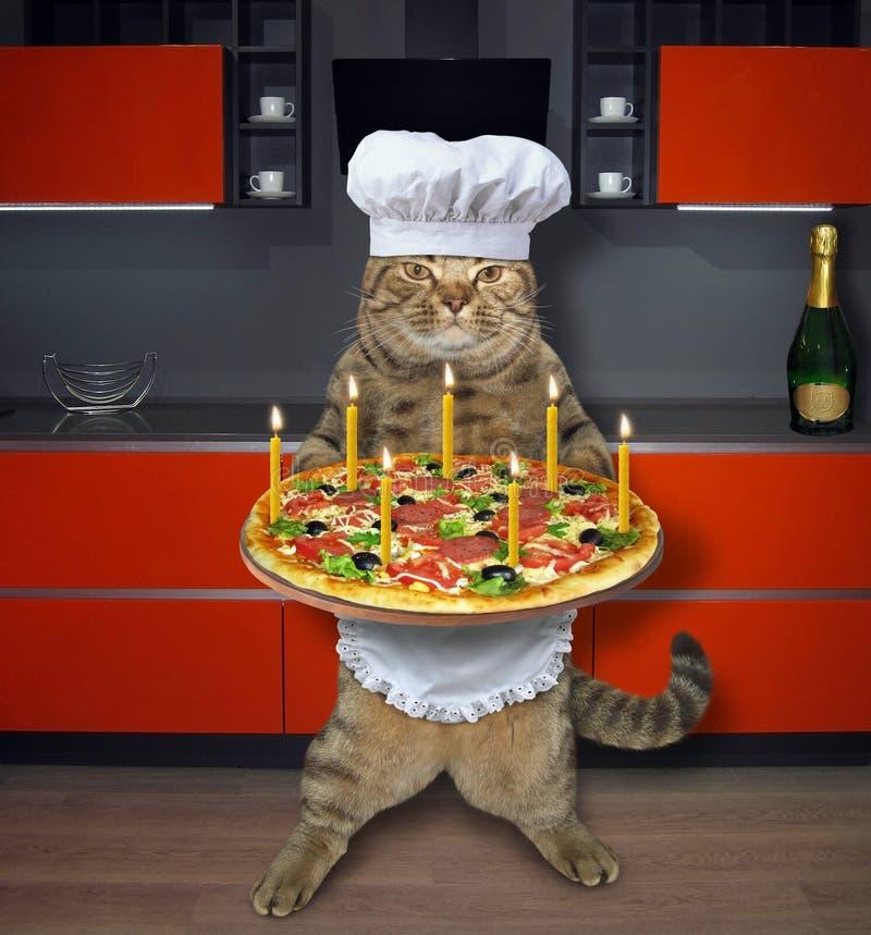 Katt med feriepizza i kök vektor illustrationer