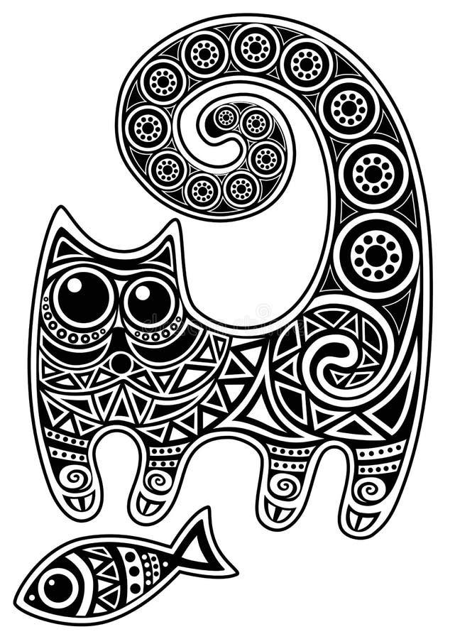 Katt med fisken royaltyfri illustrationer