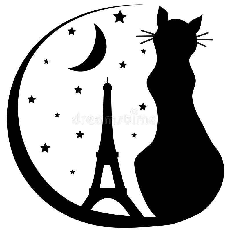 Katt med illustrationen för logo för Eiffeltornkontur den svartvita vektor illustrationer