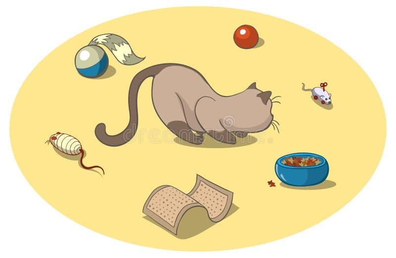 Katt med toys vektor illustrationer