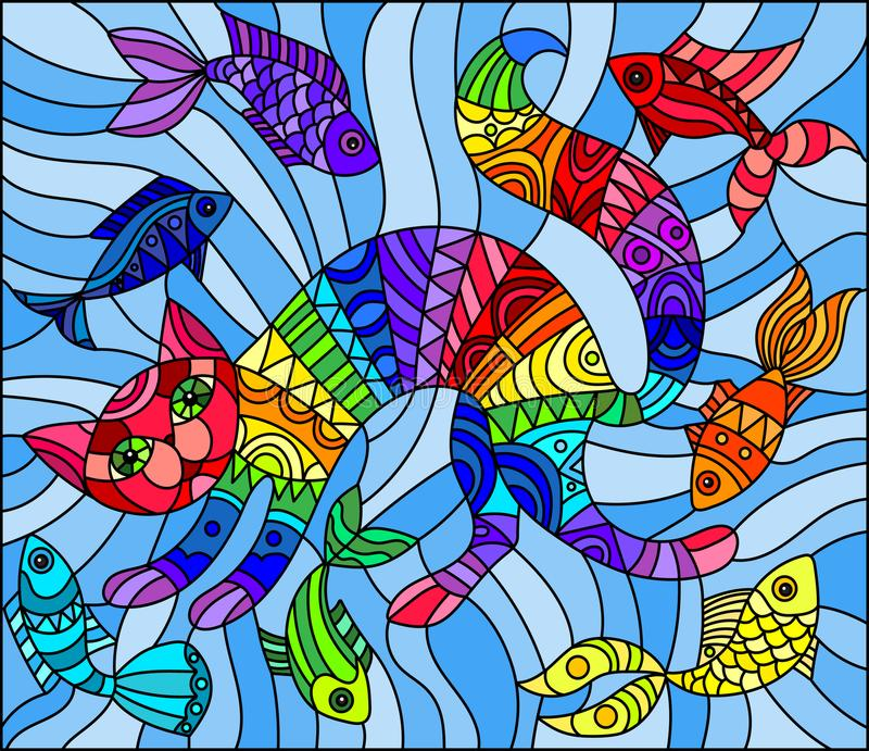 Katt och fisk för regnbåge för målat glassillustrationabstrakt begrepp geometrisk på en blå bakgrund royaltyfri illustrationer