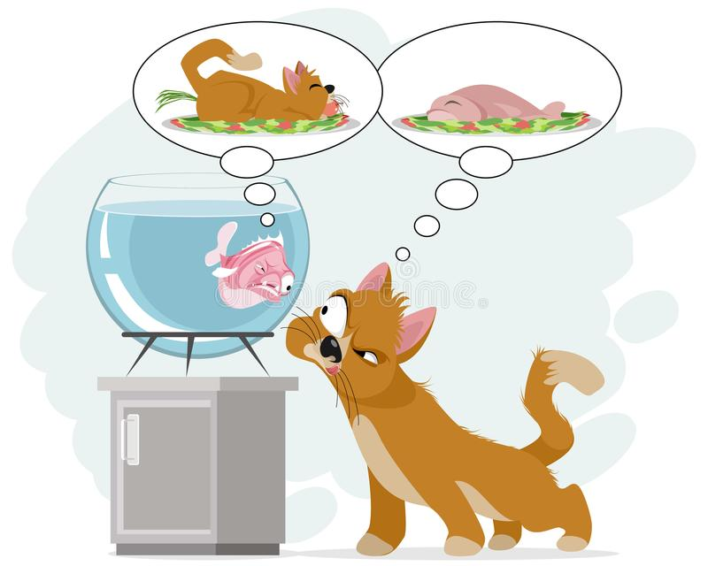 Katt och fisk i akvarium stock illustrationer