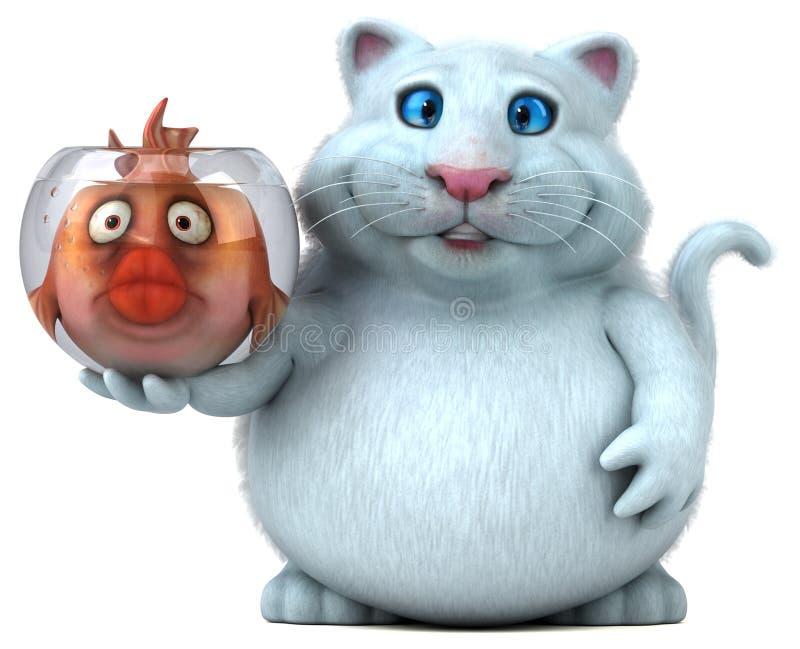 Katt och fisk - illustration 3D stock illustrationer