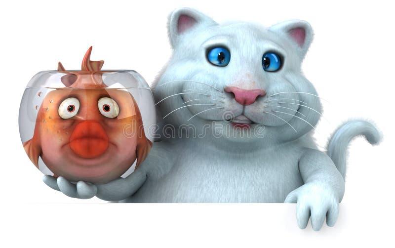 Katt och fisk - illustration 3D royaltyfri illustrationer