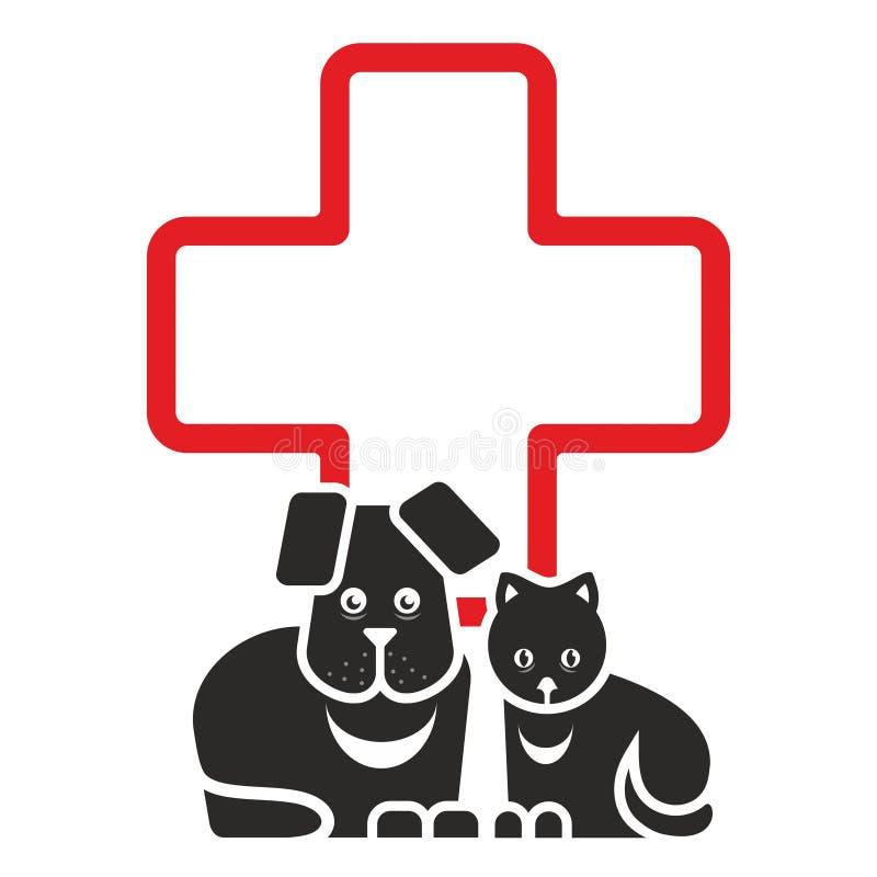 Katt och hund stock illustrationer