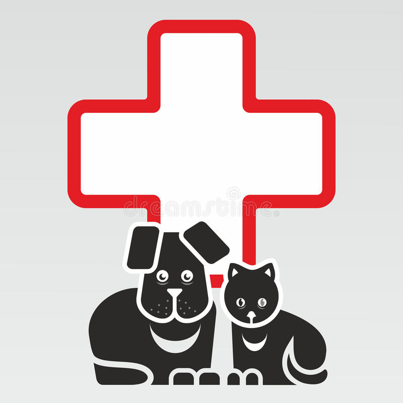 Katt och hund royaltyfri illustrationer
