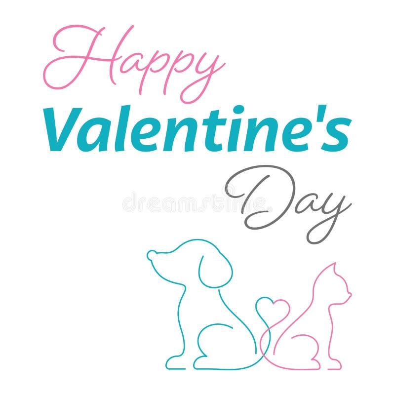 Katt och hund för lyckligt valentinkort gullig royaltyfri illustrationer