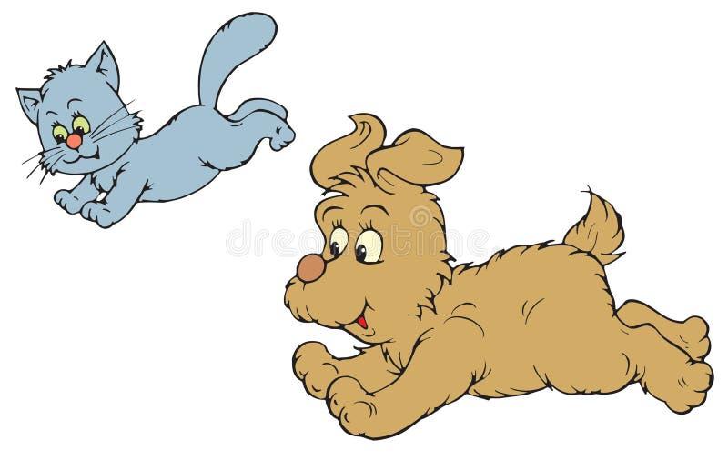 Katt och hund (vektorgem-konst) royaltyfri illustrationer
