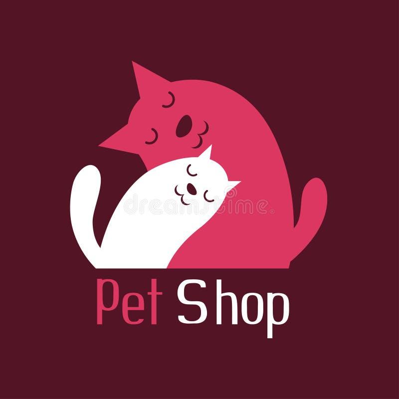 Katt- och hundanbudomfamningen, tecknet för älsklings- shoppar logo royaltyfri illustrationer