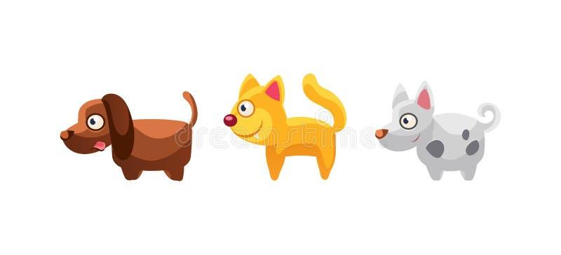 Katt och hundkapplöpning, roliga tecknad filmlantgårddjur, modig användargränssnitt, beståndsdel för mobil eller dataspelvektoril royaltyfri illustrationer
