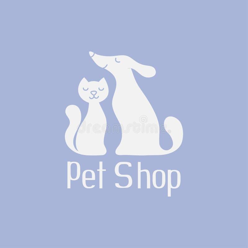 Katt- och hundlogoen för älsklings- shoppar stock illustrationer