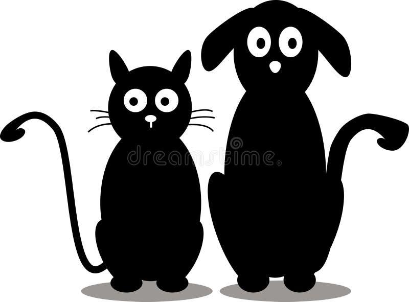 Katt- och hundsilhouette royaltyfri illustrationer
