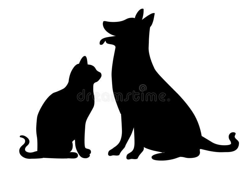 Katt- och hundsilhouette vektor illustrationer