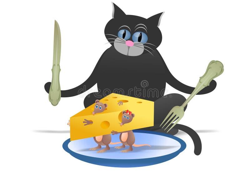 Katt och mus royaltyfri illustrationer