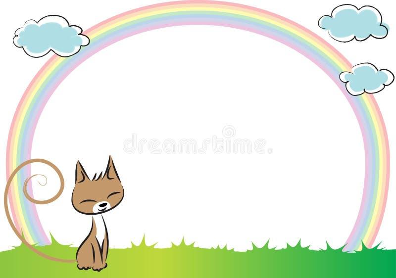 Katt och regnbåge i bakgrunden stock illustrationer