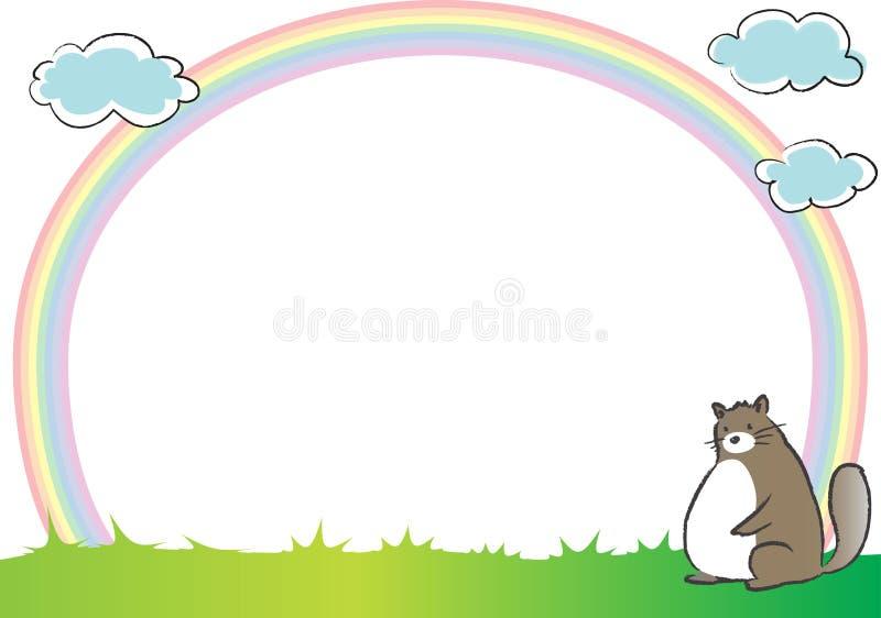 Katt och regnbåge i bakgrunden royaltyfri illustrationer