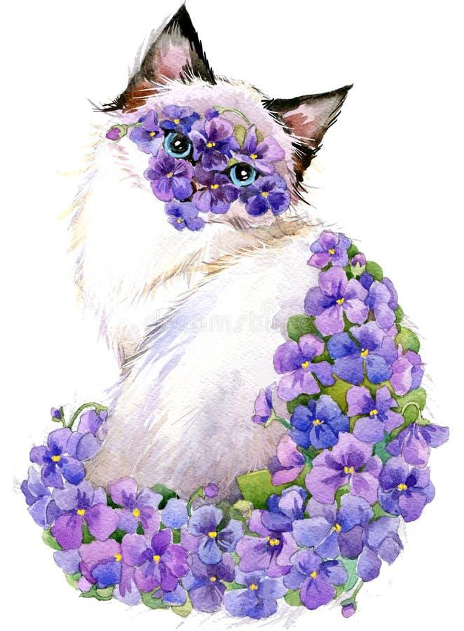 Katt Original- målning av Veronika Surovtseva Blommavattenfärgbakgrund royaltyfri illustrationer