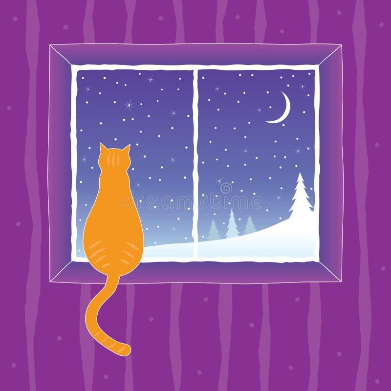 katt som ser fönstret stock illustrationer