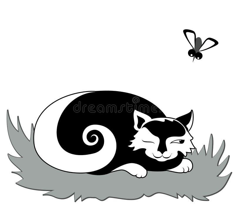 Katt som simulerar att sova vektor illustrationer