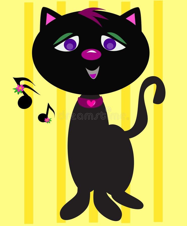 Katt som sjunger deppigheten stock illustrationer