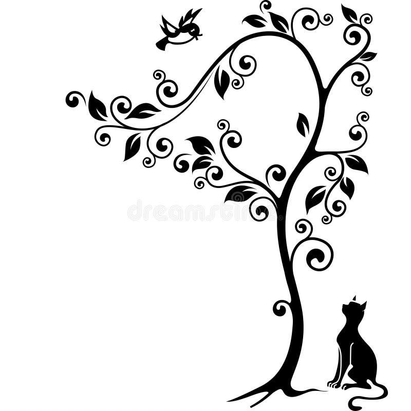 Katt under en tree vektor illustrationer