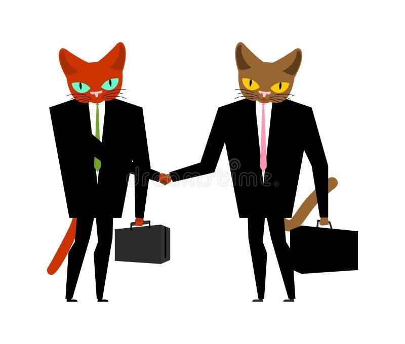 Kattaffärsmanavtal Handskakningkattframstickande Djur chef P royaltyfri illustrationer