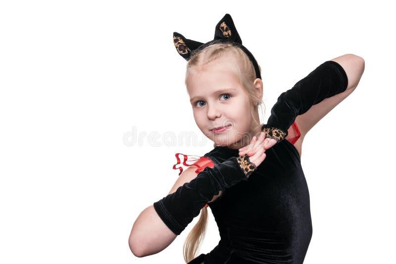 Kattdräkt för flicka royaltyfria foton
