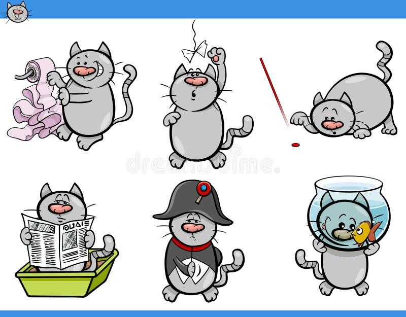 Katten blidkar teckenuppsättningen stock illustrationer