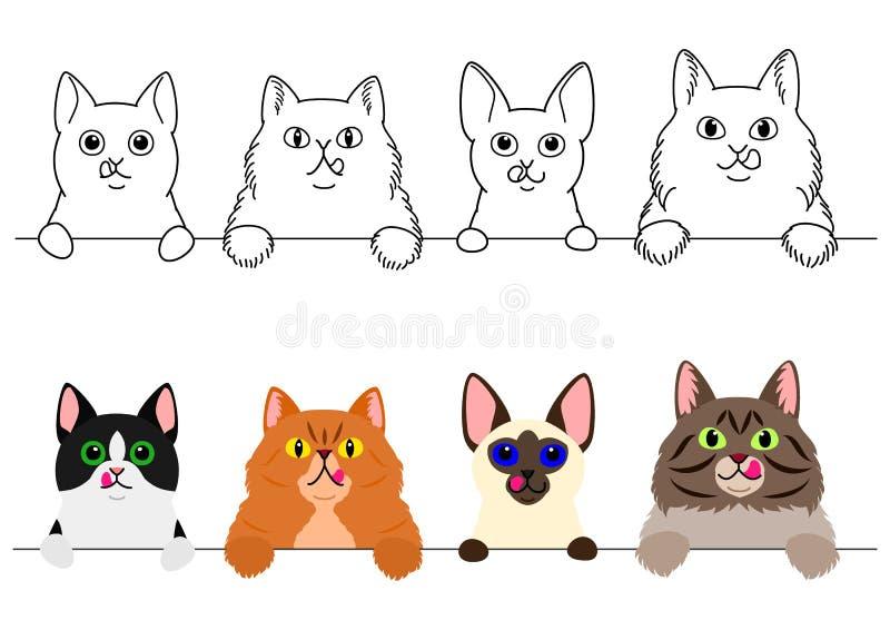Katten die hun lippen op een rij likken royalty-vrije illustratie