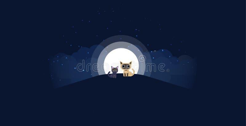 Katten die op een heuvelachtergrond zitten van het maanlicht Allen in één enkele laag Vector illustratie Zwarte en roomkat op het royalty-vrije illustratie