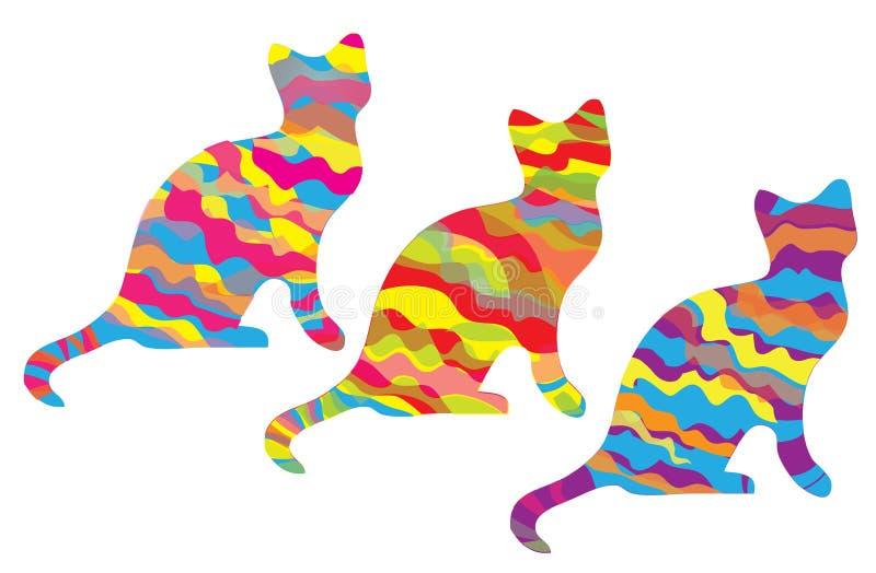 Katten drie silhouetten met kleurrijke strepen royalty-vrije illustratie