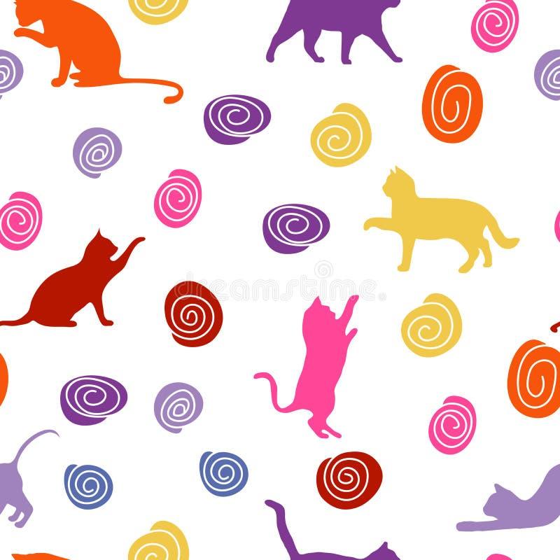 Katten en ballen naadloze babyachtergrond met kleurenkatten en ballen royalty-vrije stock foto