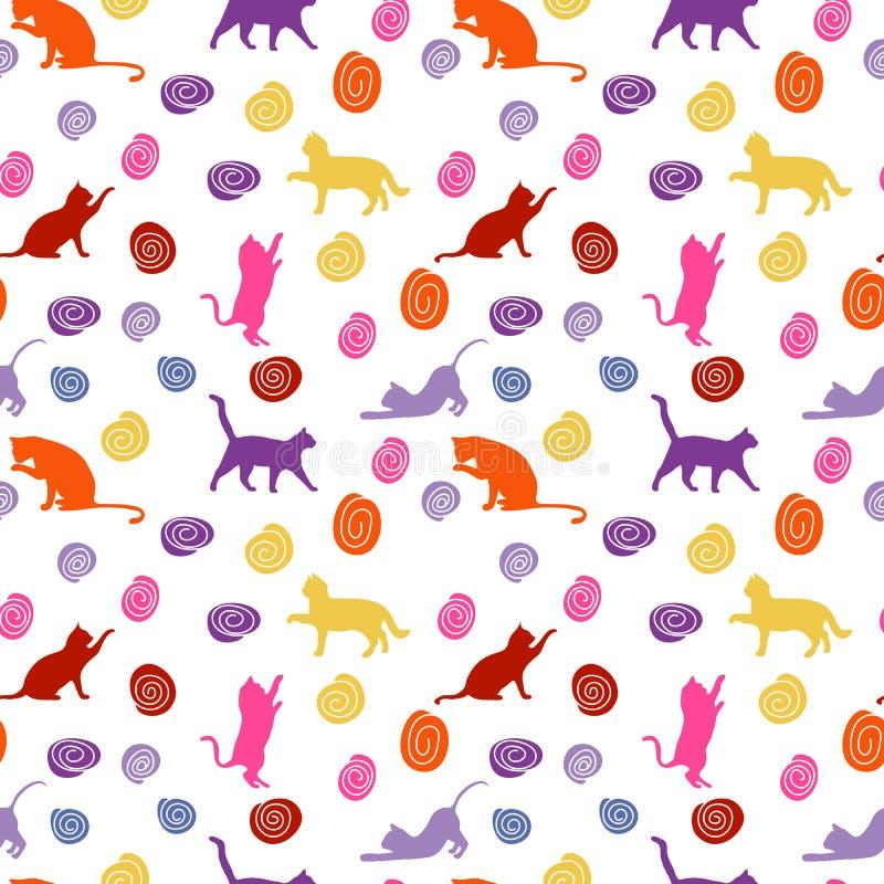 Katten en ballen naadloze babyachtergrond met kleurenkatten en ballen stock afbeelding