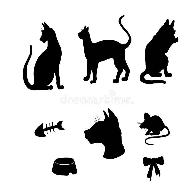 Katten en geplaatste muizensilhouetten stock illustratie