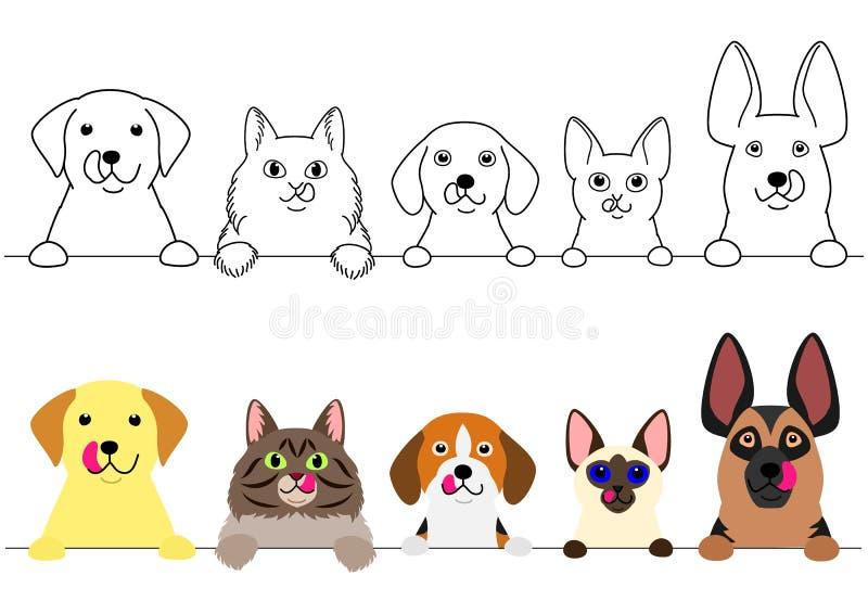 Katten en honden die hun lippen op een rij likken vector illustratie