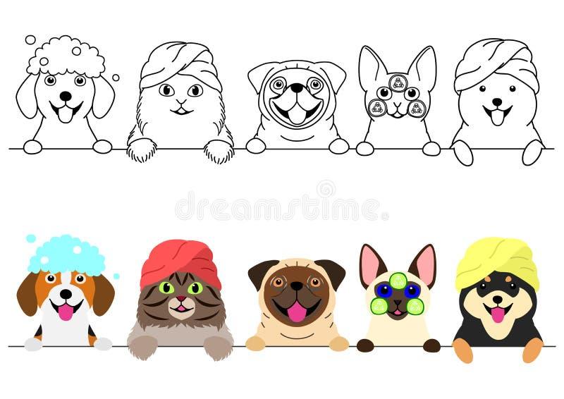 Katten en honden die van kuuroord op een rij genieten royalty-vrije illustratie