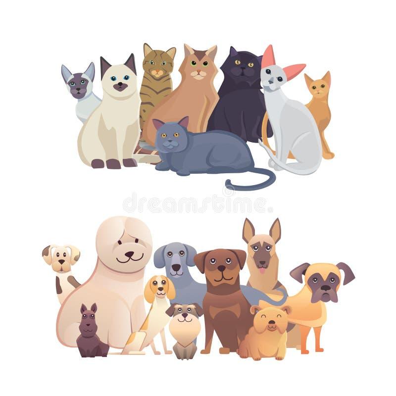 Katten en hondengrensreeks, vooraanzicht Huisdiereninzameling van beeldverhaalillustraties vector illustratie