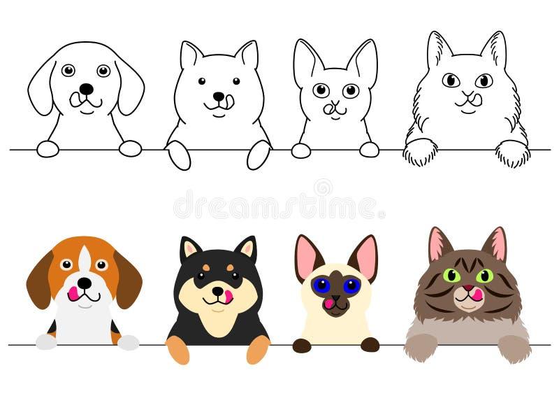 Katten en kleine honden die hun lippen op een rij likken stock illustratie