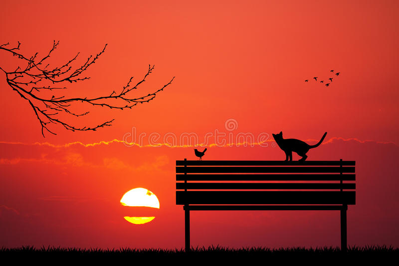 Katten en vogel op bank bij zonsondergang vector illustratie