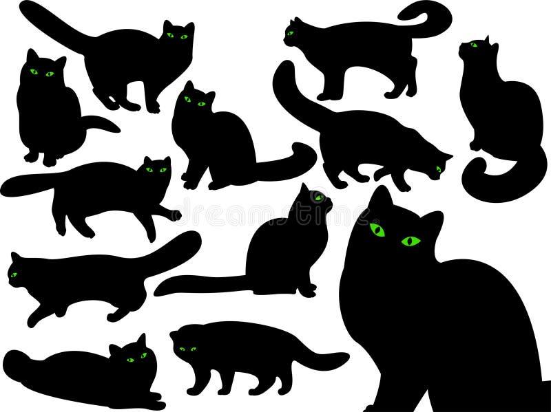 katten eyes s-silhouettes vektor illustrationer