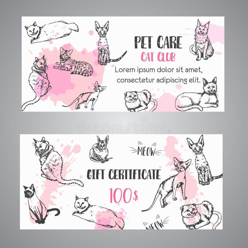 Katten föder upp presentkortet Följ min illustration för vektorn för fottext som den gulliga kattungen skissar certifikatmallen stock illustrationer