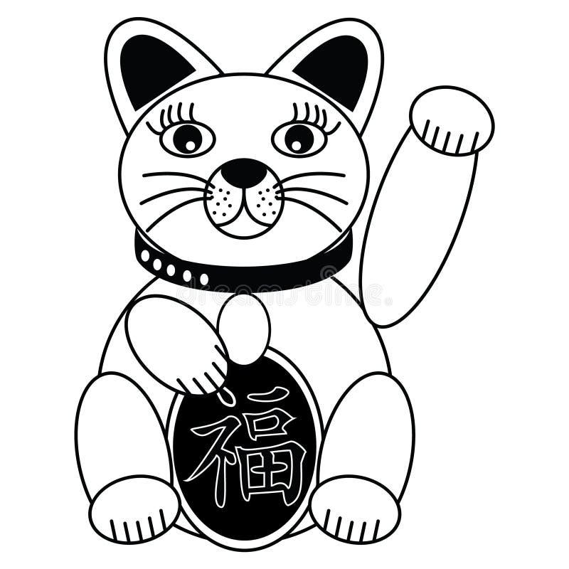 Katten för kinesisk stil med bra lycka undertecknar in svartvitt stock illustrationer
