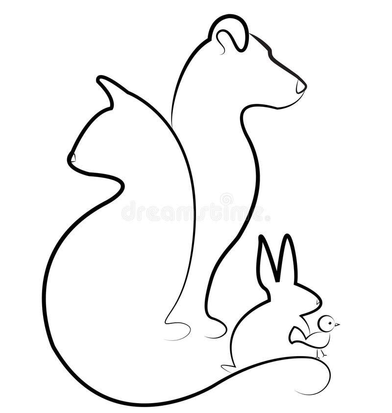 Katten förföljer, fågeln och kanin stock illustrationer
