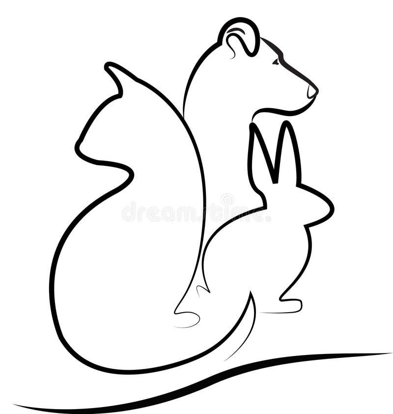 Katten förföljer och kaninen stock illustrationer